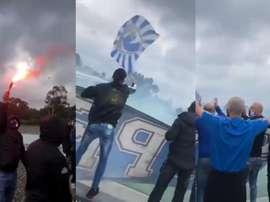 Porto retrouve le chemin de l'entraînement sous les fumigènes de ses ultras. Twitter/Minassd12