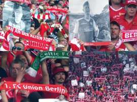 Union Berlin paid tribute to deceased fans prior to the Leipzig game. Twitter/Bundesliga_EN