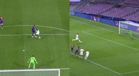 Piqué no tuvo más remedio que hacer penalti, pero no esperaba ser expulsado. Captura/Movistar+