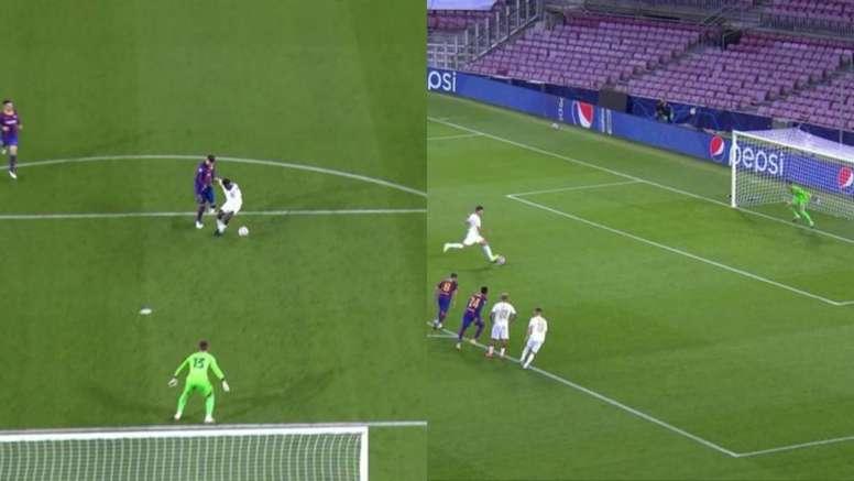 Piqué was sent off. Screenshot/Movistar+