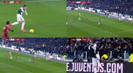 Cristiano Ronaldo avançou pela esquerda para bater cruzado e superar o goleiro Pau. DAZN