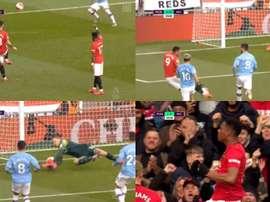 United abriu o placar com bela jogada ensaiada entre Bruno Fernandes e Martial. DAZN