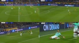 Lautaro sacó petróleo de un balón que era del Borussia. OTv/Movistar+