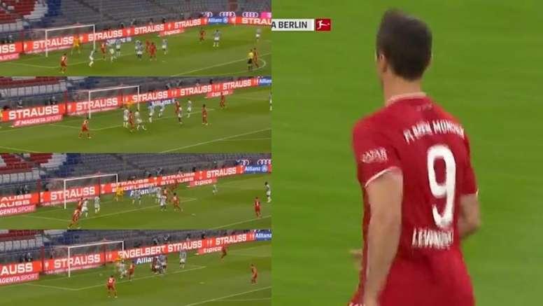 Lewandowski scored for Bayern. Screenshot/Eleven