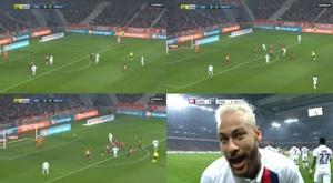 Neymar abre o placar com golaço de fora da área. Canal+/ESPN