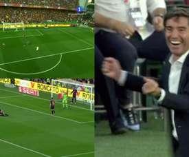 Gameiro marque le premier but à la 21ème minute. TVE