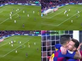 Messi recibió de Suárez el gol de su 'hat trick'. Movistar+