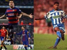 Daniel Alves, Messi, Ufarte e Donato são os que mais partidas possuem. EFE/AFP/Agencias