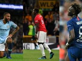 Sterling, Pogba, Abraham, tres jugadores señalados por los intolerantes. AFP/Archivo