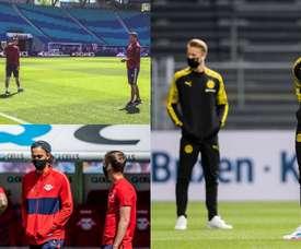 Les masques, nouvel élément des tenues de joueur. Twitter/scfreiburg/RBLeipzig_EN/BVB