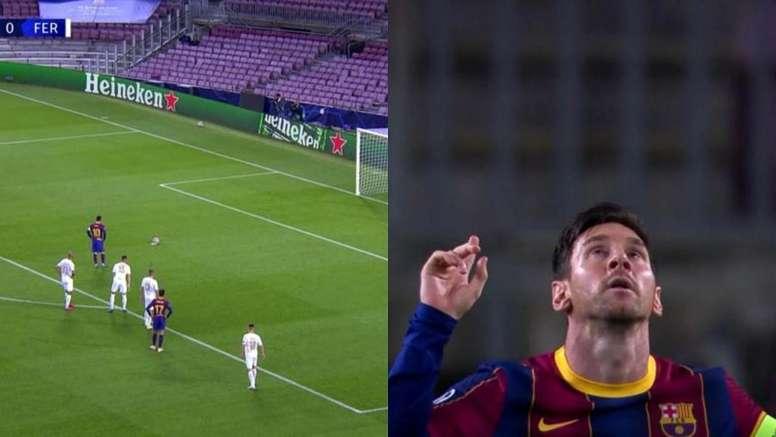 Messi scored Barca's first goal. Screenshot/MovistarLigadeCampeones