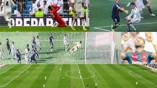 Collage con imágenes de la primera parte del Real Madrid-Levante. Twitter/Captura/Movistar+