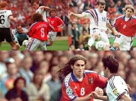 Collage con imágenes de la República Checa en la Eurocopa de 1996. AFP