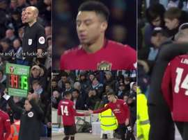 Solskjaer was angry at Lingard and then substituted him. Captura/SkySports