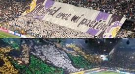 Dos 'tifos' bien distintos, pero con una misma razón de ser. Twitter/madridistapuro4/rafagomez87