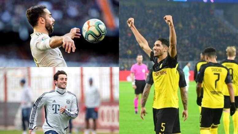 Carvajal, Odriozola e Achraf na briga pela titularidade. EFE/AFP/FCBayern