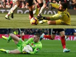Two of the best goalkeepers this season, head to head. AFP/Archivo