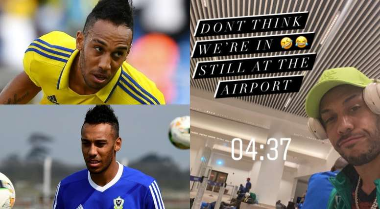 Aubameyang has been fined for revealing he stayed in an airport. AFP/Twitter/Aubameyang7