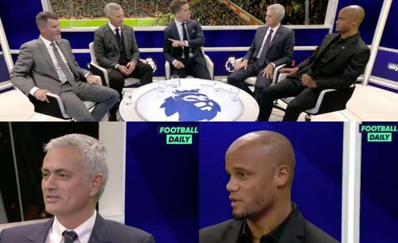 Mourinho et Kompany sur un plateau de télévision.  Capturas/FootballDaily