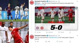 El Eintracht troleó al Barcelona. Agencias/Captura/Twitter