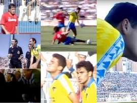 Collage con imágenes del Cádiz-Zaragoza de la última jornada de la temporada 1990-91. Captura/Canal+