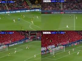 Achraf's goal resembled George Weah's powerful strikes from the 90s. Screenshot/Movistar+