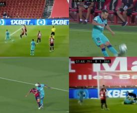 Vidal segna la prima rete del Barcellona. MovistarLaLiga