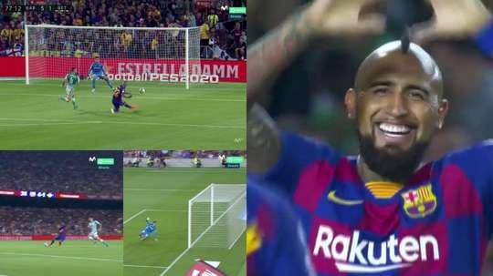 Arturo Vidal a marqué le but du 5-1. Captures/MovistarLaLiga