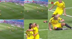 El gol de Haaland al RB Leipzig. Capturas/ESPN