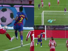 Leo Messi scored a lovely penalty kick to bring up his 700. Capturas/MovistarLaLiga