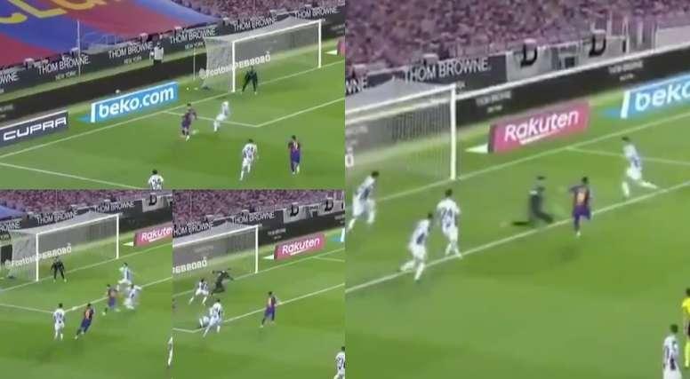 Suárez scored for Barcelona. Screenshots/MovistarLaLiga