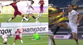 Sevilla hit the front after 22 minutes v Roma. Capturas/MovistarLigaDeCampeones