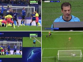 Extraño final de primera parte, con un penalti fallado, en Milán. Capturas/MovistarLigaDeCampeones