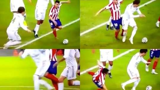 Possible penalty sur Correa. Captura/MovistarLigaDeCampeones