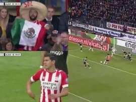 México, protagonista del PSV-Ajax. Twitter/ESPN