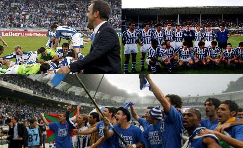 Collage con imágenes del último ascenso de la Real Sociedad y de la despedida de Atotxa. EFE/RS