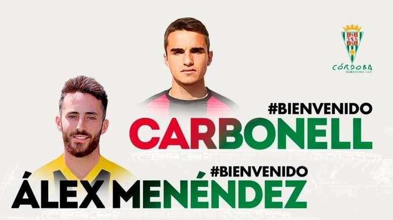 Menéndez y Carbonell, dos nuevos fichajes para el Córdoba. Twitter/Cordobafcsad