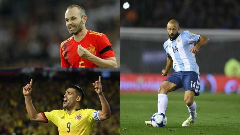 Dernier mondial pour Iniesta, Falcao et Mascherano. BeSoccer/EFE/AFP