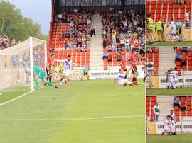 Collage con las imágenes de la victoria del Extremadura ante el Mirandés. Twitter/EXT_UD