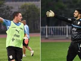 El 'Cebolla' Rodríguez por fin se impuso en su particular duelo a Luis Suárez. Twitter/Uruguay