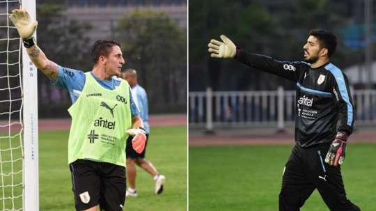 Le dernier entraînement de l'Uruguay a vu des gardiens très spéciaux. Twitter/Uruguay
