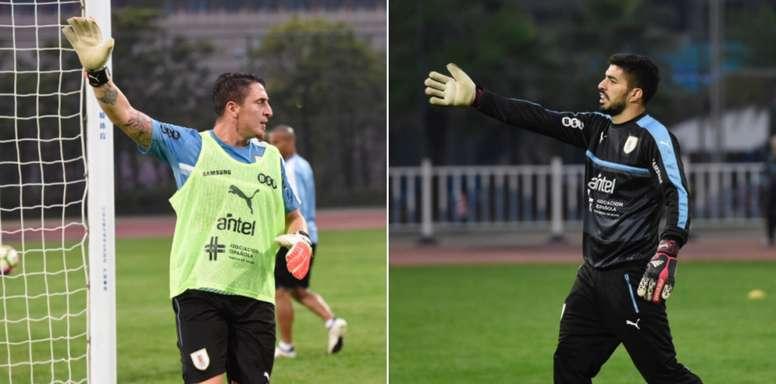 El último entrenamiento de Uruguay contó con unos porteros muy especiales. Twitter/Uruguay