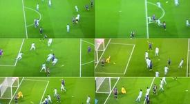 Dembélé a de nouveau marqué... grâce à Messi et Jordi Alba. Twitter/BeINSports