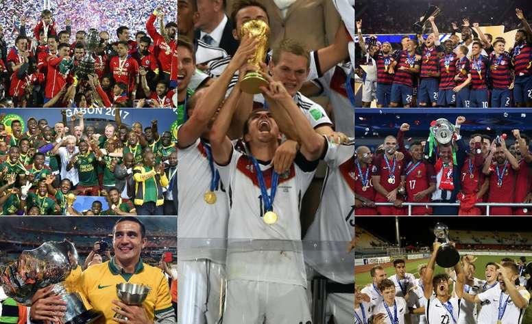 Collage con los campeones de Asia, África, Oceanía, Europa, América, CONCACAF y Mundial. EFE/AFP