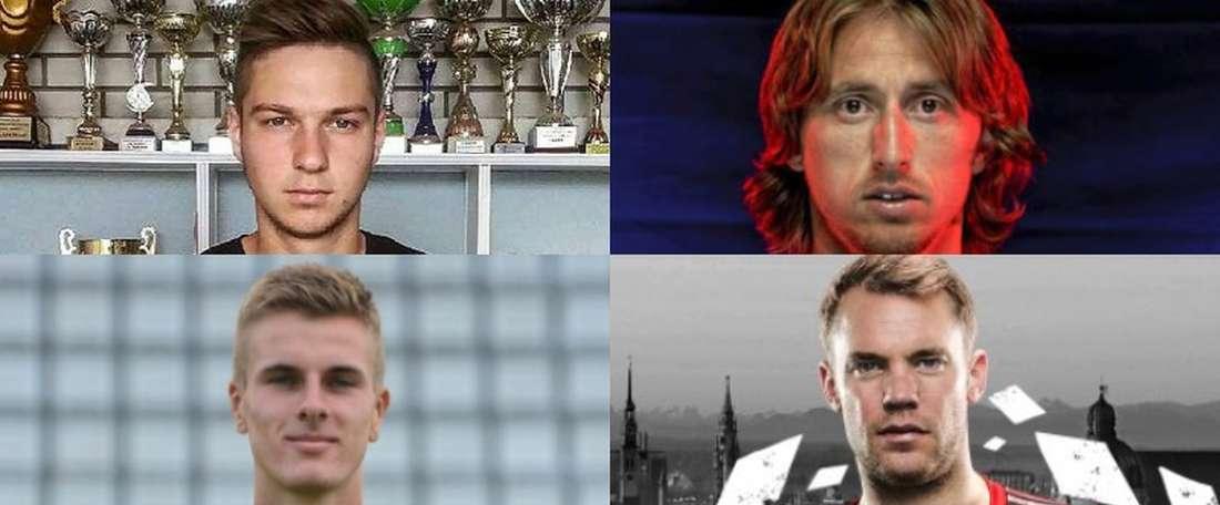 Collage con los dos Luka Modric, con Manuel Neuer y Lukas Neuer y con Sandro Semedo y Nélson Semedo.