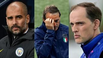 Pep Guardiola, Roberto Mancini y Thomas Tuchel, finalistas. AFP