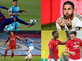 Piqué, Sergio Ramos, Van Dijk e Maguire, zagueiros que contribuem no ataque. EFE/AFP
