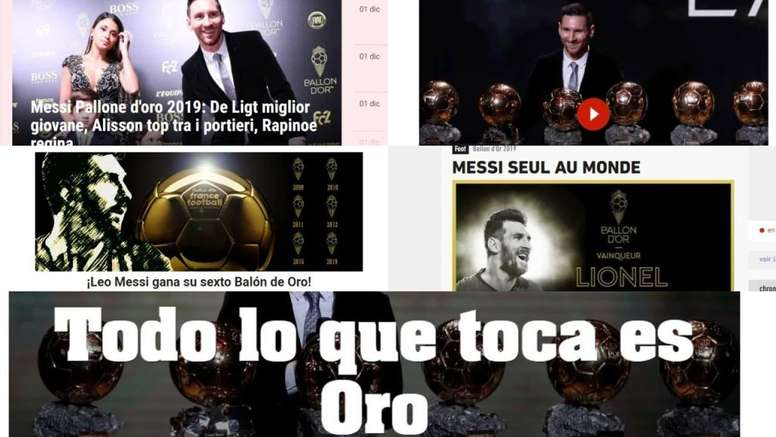 El mundo, rendido a Messi. Collage/BeSoccer