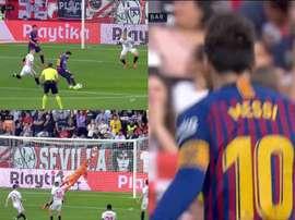Messi hace que lo difícil parezca un juego de niños. beINSports