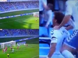 Luis Milla adelantó al Tenerife con un gol olímpico. LaLigaTV